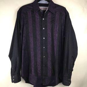 Robert Graham Striped Button Down Shirt Large